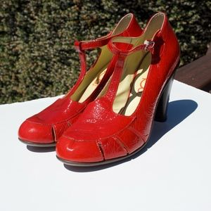 You by Crocs Red Patent Leather T Strap Heels 10